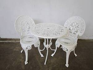 D2084 Vintage White Outdoor Garden Setting Cast Iron Chairs Mount Barker Mount Barker Area Preview