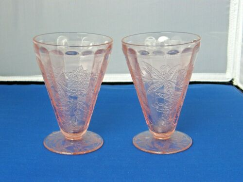 2 Footed Tumblers-Floral/Poinsettia Pattern-Pink Jeannette Depression Glass-7 Oz