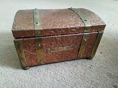 VINTAGE Brass / Copper TEA CADDY with HINGED LID - Tea Chest Box - c1930s