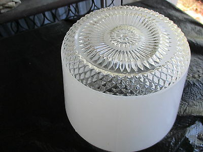 Vtg Glass Kitchen Hall Ceiling Light Fixture-Frosted/Clear Globe Mid Century