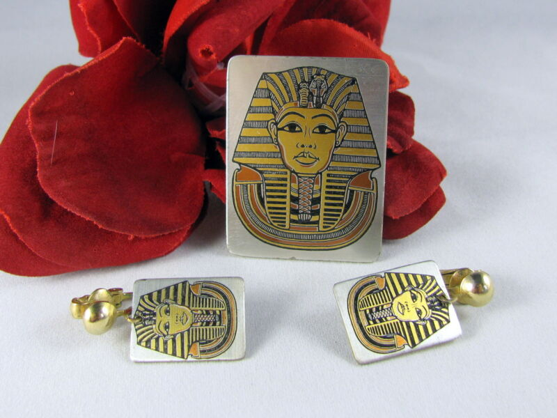 Vintage Reed & Barton Pharaoh Egypt pin Brooch & Earrings Set  CAT RESCUE