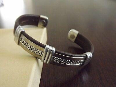 Solid Copper Leather Wrapped Magnetic Bracelet Men Women Energy Pain Colors Copper Wrap Bracelet