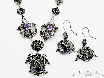 Antique Vintage Deco Sterling Silver Scottish Thistle Necklace Earring Set!