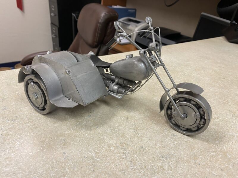 Handcrafted Metal Motorcyle with Sidecar 9 Inches Spark Plugs, Nuts and Bolts