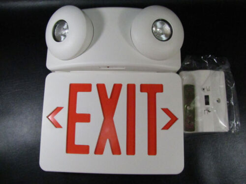 MONUMENT COMBINATION LED EXIT SIGN AND HALOGEN EMERGENCY LIGHT