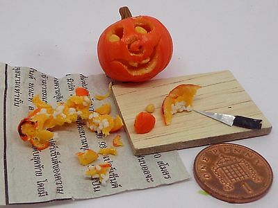 1:12th Handmade Halloween Carving Pumpkin On Board ,Newspaper + Carving knife