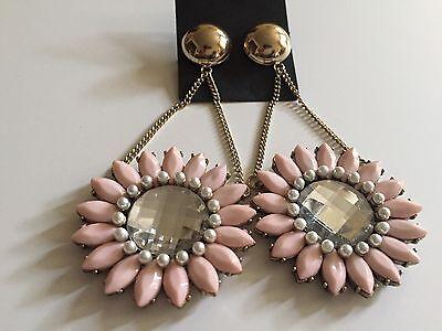 ASOS Pretty Flower Doorknocker Earrings Pink New Never Worn Fashion Runway Style