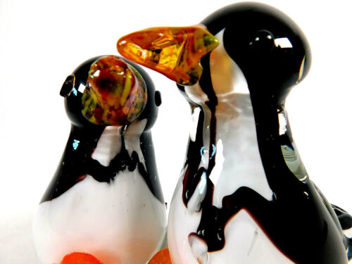 """Rare Vintage Double Penguins On Ice Handblown Glass Paperweight """"Murano"""""""