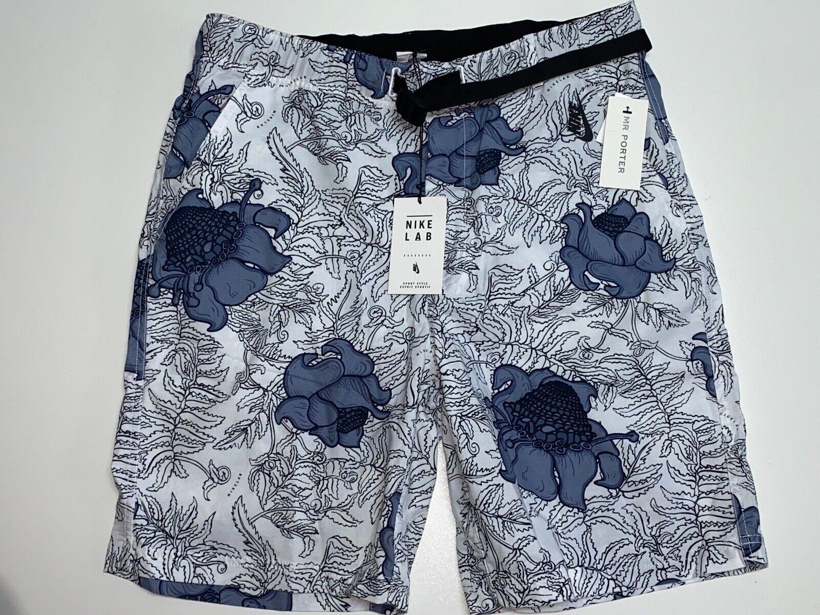 "Nike 9"" Nikelab Belted Floral Shorts White Blue 923814 100 M"