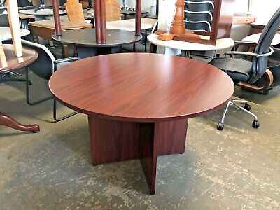 Round Conference Table By Basyx By Hon Office Furn In Mahogany Laminate 48d