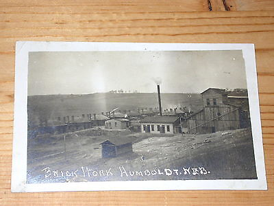 vintage RPPC Real Photo Humboldt Nebraska ** BRICK FACTORY with kilns **