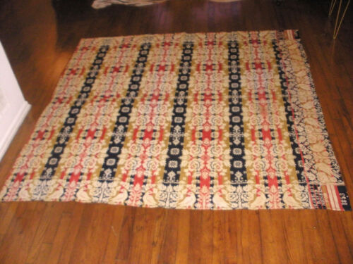 "77"" Antique hand woven wool coverlet homespun w/ birds signed David Menser 1853"
