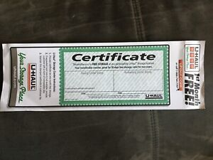 U-Haul free month of storage certificate