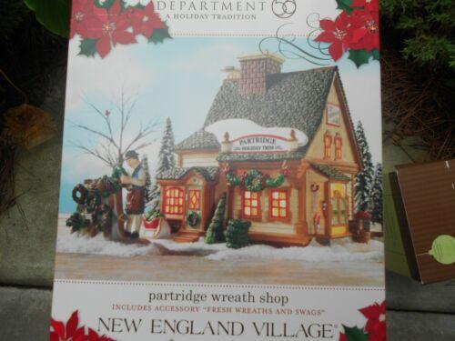 DEPT 56 NEW ENGLAND Village PARTRIDGE WREATH SHOP NIB