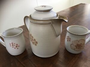 Denby Gypsy coffee pot and two mugs