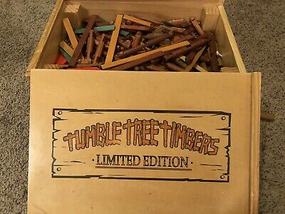 Tumble Tree Timbers Limited Editon Wooden Cart W/ Lincoln Log Assortment Inside
