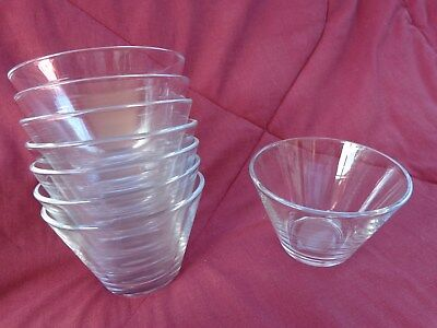 8 Clear Glass 6 oz Custard/Dessert  Bowls