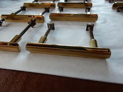 BOX  / Sliding Door Handles 1950s era Brass  vintage SOLID 7 x 2 cm  lot of 12