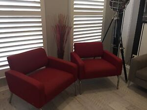 Two red armchair Beaumont Hills The Hills District Preview