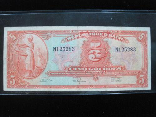 HAITI 5 GOURDES 1964 P187 D