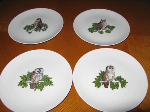 Set of 4 Fitz and Floyd VARIATIONS OWLS Salad Plates