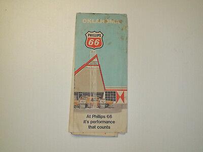 Vintage 1970 PHILLIPS 66 Oklahoma Road Travel Road Map