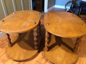 Two matching Solid wood end tables