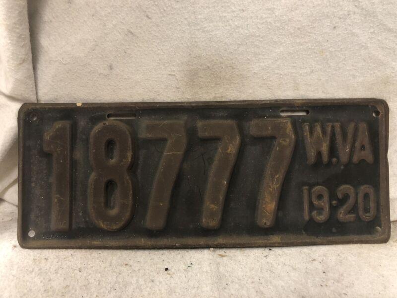 Vintage 1919-1920 West Virginia License Plate