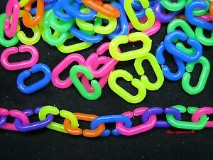 200-pcs-PLASTIC-NEON-10x16mm-C-CHAIN-LINKS-PARROT-BIRD-FOOT-TOY-PARTS-FREE-SHIP