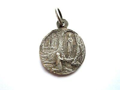 Antiker Miniatur Heiligen Anhänger Schutzamulett Lourdes Silber um 1940