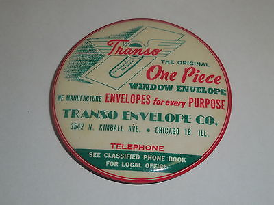 Old pocket mirror advert.TRANSO ENVELOPE CO. 3542 N.Kimball Ave.Chicago 18. ILL.