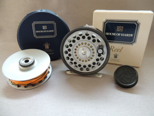 """Boxed Hardy Featherweight 2 7/8"""" Fly Fishing Reel + Spare Spool."""