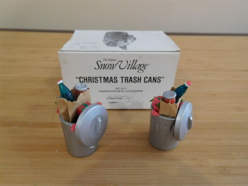 Dept 56 Snow Village - Christmas Trash Cans - Set of 2 - Free Shipping