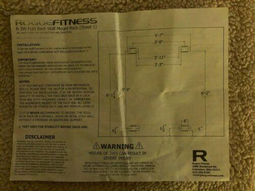 NEW - Rogue Fitness R-3W Fold Back Wall Mount Rack - BLACK