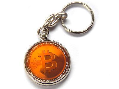 Bitcoin Moneda Digital Calidad Cromo Llavero Foto Ambos Lados