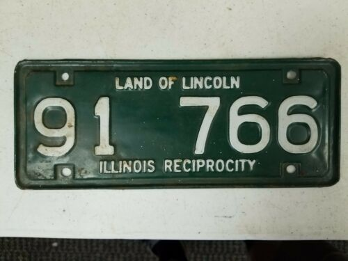 EXPIRED Illinois Reciprocity Land of Lincoln License Plate 91 766