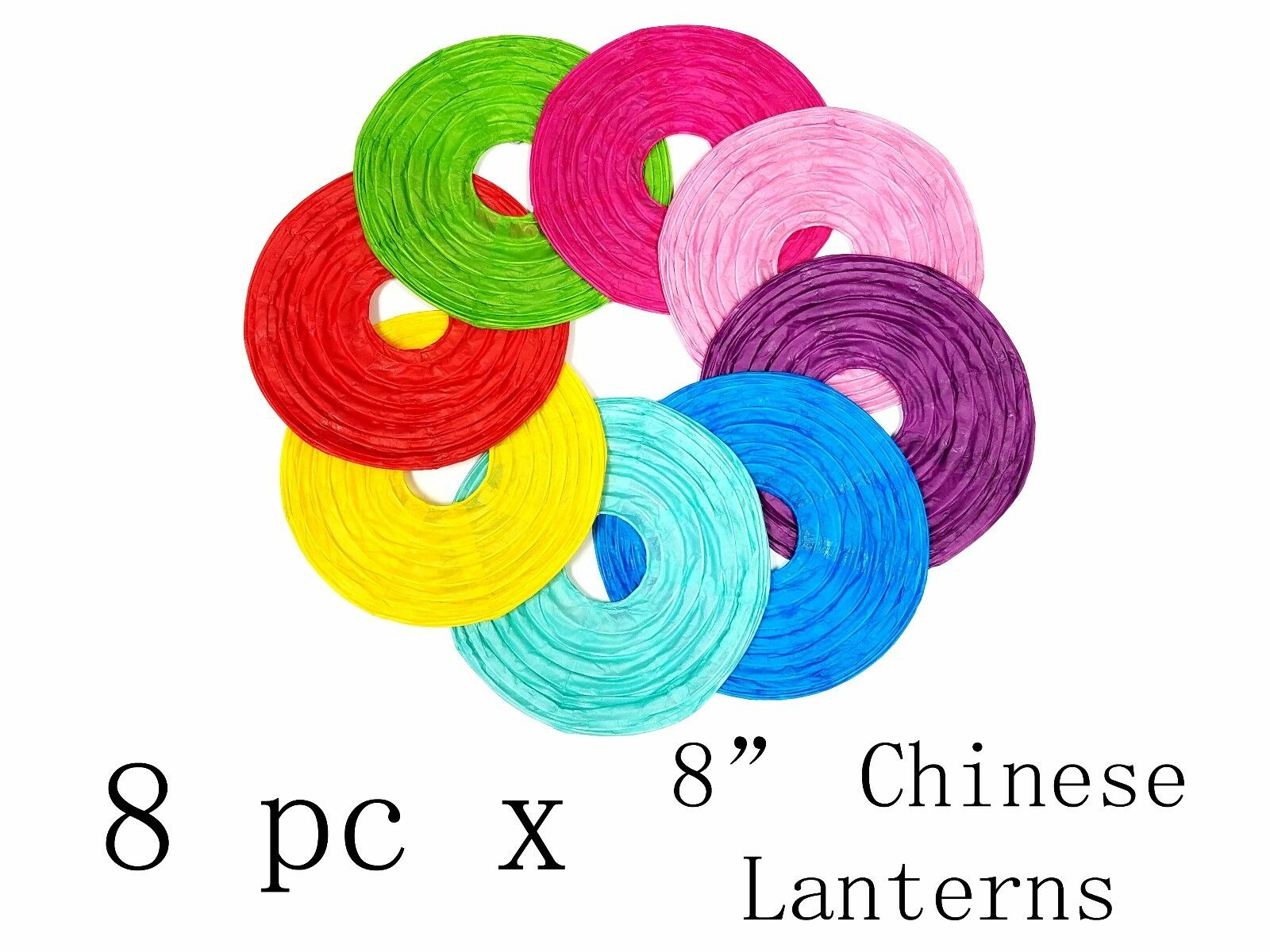 8 multi color 8 chinese paper lanterns