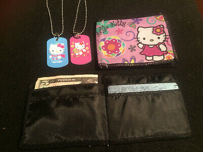 Hello Kitty Purse / Wallet Gift SET with 2-Sided Dog Tag Necklace FREE SHIPPING!