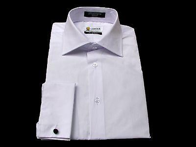 Collar White Shirt - Labiyeur White French Cuffs Dress Shirt with Free Knot Cufflinks - Spread Collar