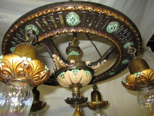 Antique 30s Light/Chandilar Cast Iron ART Nouveau with 4 Pendants Refurbished