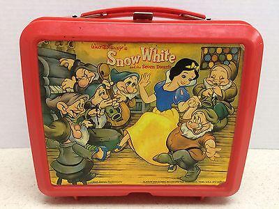 Vintage Snow White and the Seven Dwarfs Plastic Red Lunchbox Walt Disney Aladdin