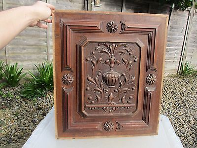 Vintage Wooden Panel Plaque Carved Wood Antique Gilt Leaf Rococo Baroque Urn