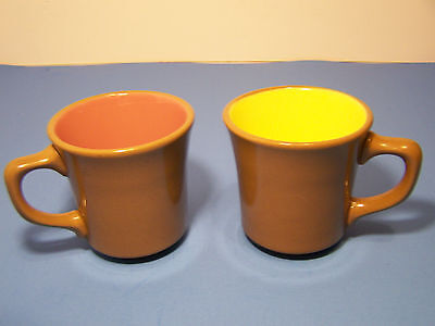 Vintage genuineTaylor Coffee Mug made in USA 2 pair cinn. brown pink yellow