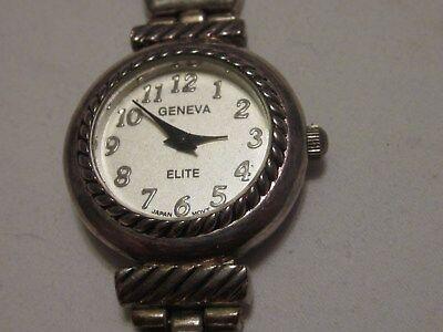 Unique Geneva Elite Easy Read Silver Tone Women's Bracelet Watch & A New Battery Geneva Elite Watch