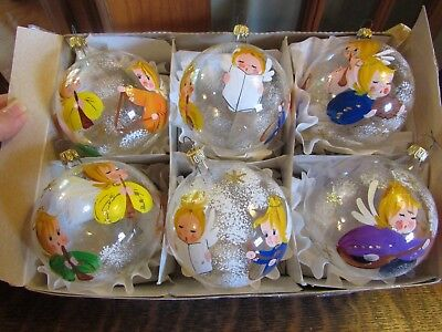Glass Globe Christmas Ornaments (VINTAGE ITALY SET (6) HANDPAINTED MUSICAL ANGELS GLASS GLOBE CHRISTMAS)