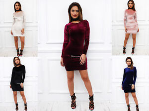 Glamzam-New-Womens-Ladies-Long-Sleeve-Velvet-Velour-Bodycon-Stretch-Mini-Dress