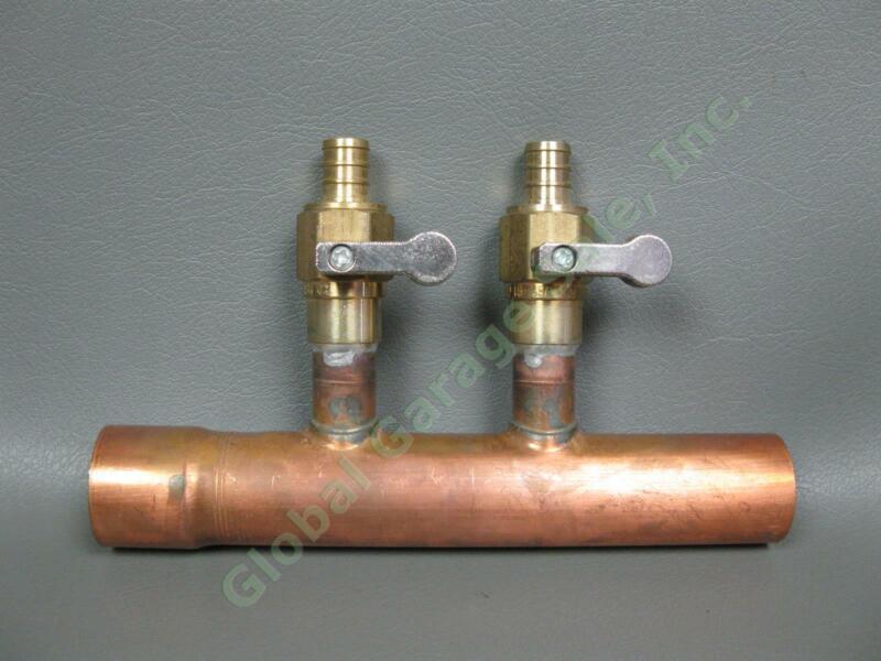 "NEW 2-Port 1"" Copper Plumbing Manifold Sweat 7"" Pipe Brass Ball Valves NSF-61-G"