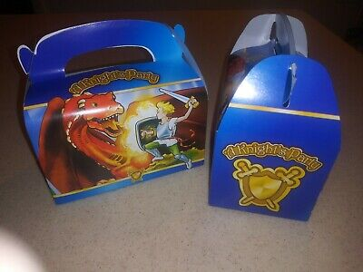 A KNIGHTS PARTY Favor Boxes 8pk- Prince Fighting A Dragon Themed Treat Boxes NEW](Prince Themed Party)