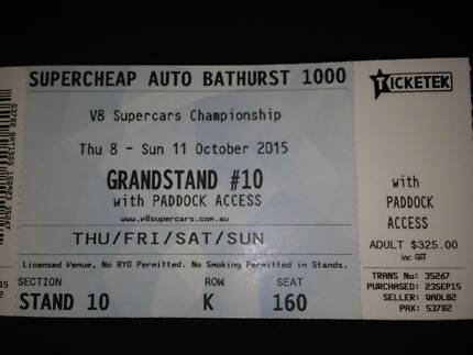 Bathurst 1000 Grandstand ticket one Croydon Charles Sturt Area Preview