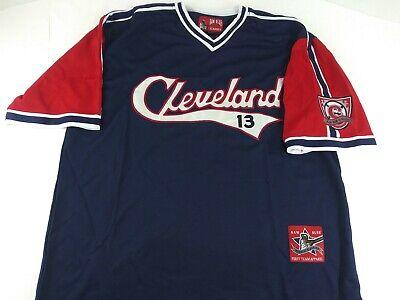 Rare Vintage Cleveland Indians #13 Raw Blue Classic MLB Baseball Jersey Shirt XL